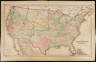 Colton, Antique Map of 1857 : The United States of America [Original] USA