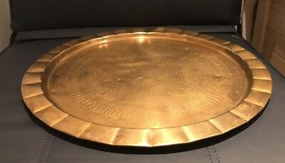 "Vintage Middle Eastern Brass Round Large Coffee Table Top Over 20"" Diameter"