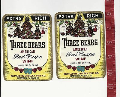 Vintage lot 2 wine labels Three Bears American Red Grape  FREE SHIPPING
