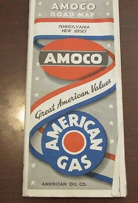 1930-40s Amoco AMerican Gas PA New Jersey Road Map