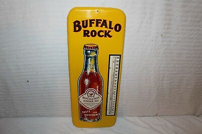 """Large Vintage 1940's Buffalo Rock Soda Pop 26"""" Metal Thermometer Sign~Nice"""