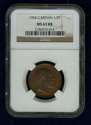 Great Britain Edward Vii  1904  Half Penny, Uncirculated, Certified Ngc Ms63-Rb