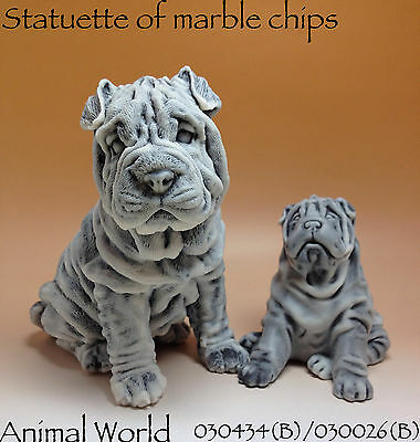 Figurines Dogs Shar Pei Marble chips Souvenirs Russian Art House Decor 2 dogs
