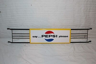 "Vintage 1970 Pepsi Cola Soda Pop Gas Station 30"" Metal Door Push Sign~Nice"