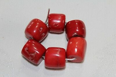 6 Antique Chunky and Large Natural Untreated Tibet Red Coral Beads   (RCB1)