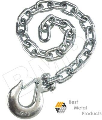 """(2) 35"""" Safety Chain 3/8"""" Slip Hook Clip Trailer Heavy Duty Towing Auto Pull 145"""
