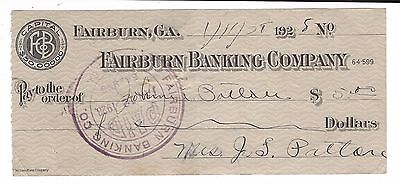 Fairburn Banking Company Fairburn Georgia 1928 Bank Check