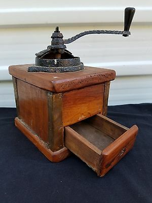 Antique Coffee Mill Grinder mill Cast Iron & Wood Old Vintage Western Decor era
