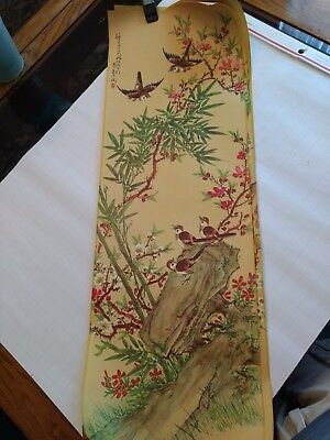 Japanese Lithograph scrolls, birds and flowers