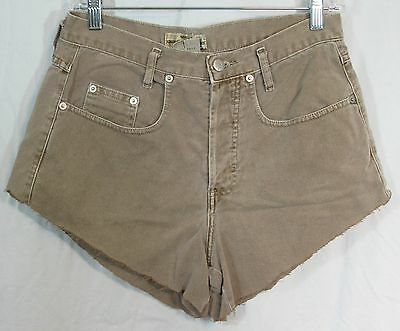 "Vintage Guess Size 1 29.5"" W 42"" Hip High Waist Taupe Denim Cut Off Shorts."