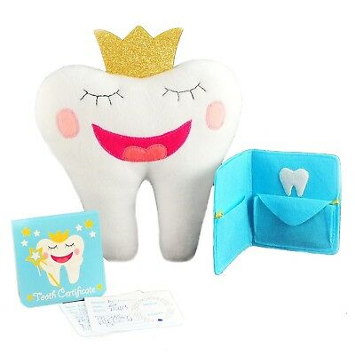 """Tooth Fairy Pillow With Notepad And Keepsake Pouch. 3 Piece Set Includes 9"""" x..."""