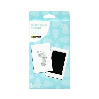 Pearhead Newborn Baby Handprint or Footprint Clean-Touch Ink Pad, 2 Uses, Black