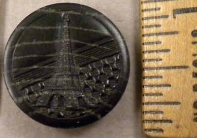 EIFFEL TOWER on Composition BUTTON, 1800s Nice Embossed Design, Medium