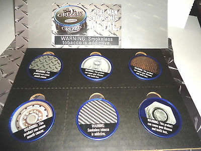 Grizzly Can Special Metal Lids - Smokeless Tobacco Chew Snuff Advertising - New!