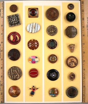 TRAY OF 25 ANTIQUE BUTTONS, Assorted Vintage Variety -- all Wooden, Unusual