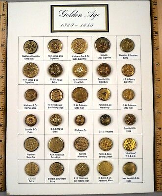 TRAY OF 30 ANTIQUE BUTTONS, Golden Age Brass AMERICAN MAKERS, 1830 -1850, WOW