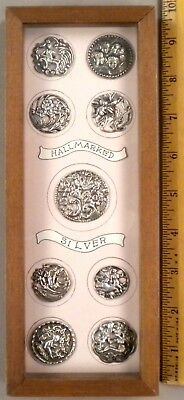TRAY OF 9 ANTIQUE BUTTONS, Hallmarked Silver, Superb Style + Shadow Box, NICE