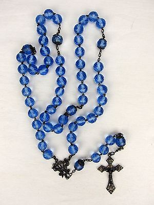 Antique Blue Faceted Glass Crystal Rosary Beads w/ Crucifix Cross Sterling