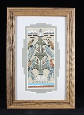 Navajo Made Corn Stalk Sand Painting Hand Painted by Glen Nez With Certificate