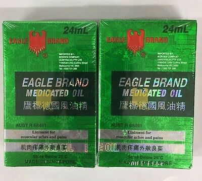 2x Eagle Brand 24ml Medicated Oil Liniment For Muscular Aches & Pains Relief