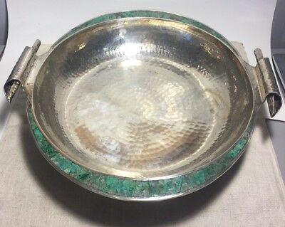 Emilia Castillo Vintage Mexican Silver Plated Turquoise Large Center Bowl