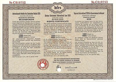 German Government Young Loan Rights Certificate (1930) Belgian Issue 5000 Franc