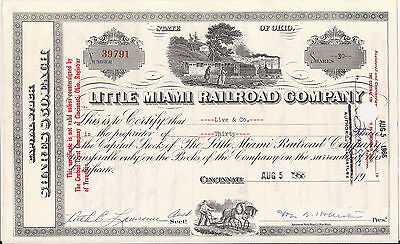 Little Miami Railroad Company stock certificate 1966 Ohio *