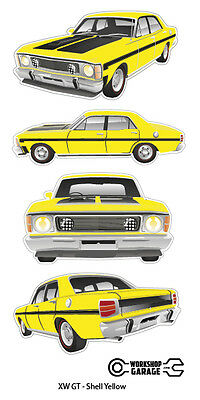FORD FALCON XW GT HO 351 -  STICKER PACK Shell Yellow 4 LARGE STICKERS