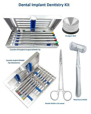 Dental Implant Kit Osteotomes Str & Angled Convex Tip,bone Mallet,Needle Holder