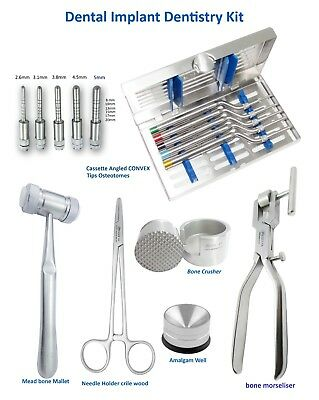 Dental Implant Kit Osteotomes Angled Convex Tip , bone Mallet , Bone Morselizer