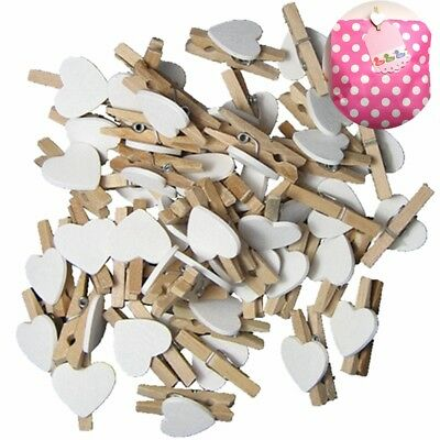30pcs Wooden DIY Clips White Heart Mini Pegs Clothespin Cute Wedding Decor Craft