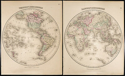 Colton, Antique Map of 1857 : Western & Eastern Hemisphere, Mappemonde Original