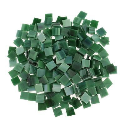 250x Square Glass Mosaic Tiles for Kids DIY Crafts Material 10x10mm Green