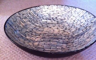 Stunning Large Retro Pottery & Mother of Pearl Mosaic Bowl Dish