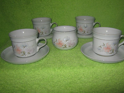 Denby Stoneware DAUPHINE 4 x Cups with 4 x Saucers and Sugar Bowl