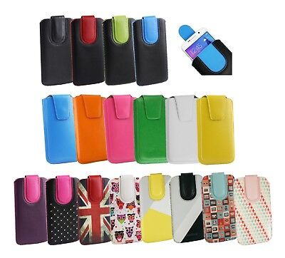 Stylish PU Leather Pouch Case Sleeve has Pull Tab Fits Alba 5.72 Mobile Phone