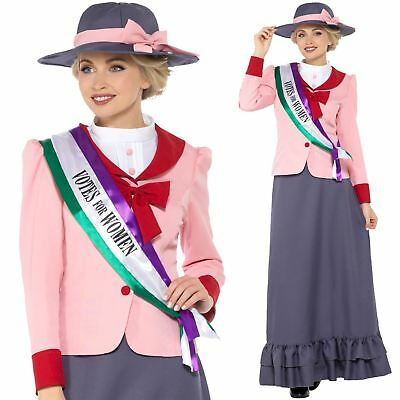 Womens Victorian Suffragette Costume Fancy Dress Pankhurst Women Votes Outfit