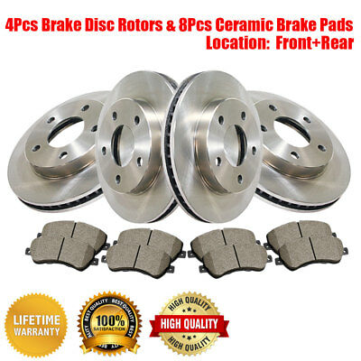 Centric Front+Rear Brake Disc Rotors & Ceramic Pads Fits Cadillac SRX 2011