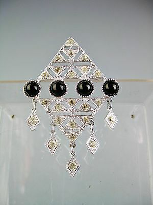 Vintage 1970s Sarah Coventry Brooch Art Deco Rhinestones Jet Diamond Shape Pin