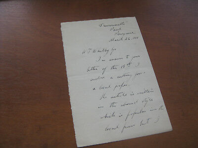 Artist Harold Knight Signed Letter (Als) 1911 Cornwall Re Dame Laura Knight