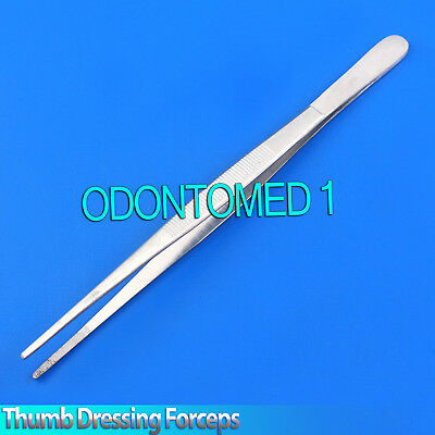 """3× Dressing Tweezer 12"""" Tissue Thumb Forcep 3.5cm Serrated Tip Surgical Tools"""