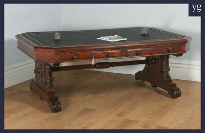 "Antique Victorian 6ft 6"" Oak Leather Partners Library Table Desk Lamb Manchester"