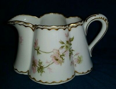 Haviland Limoges Pale Pink Roses Double Gold Creamer
