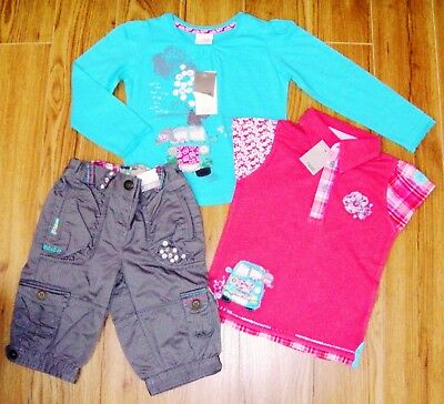 Bnwt Next Girls Campervan Tops & Cropped Pants 2-3 Yrs New Holiday Blue Summer