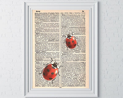 LADYBIRD PRINT VINTAGE Dictionary Book Page Wall Art Picture Mother ...