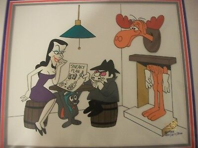 """Rocky and Bullwinkle animation cel """"Sneaky Plan """""""