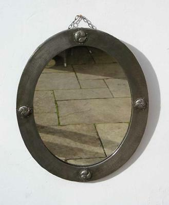 Arts & Crafts Liberty & Co oval Pewter mirror  circa 1904, 63 cm  x 52 cm