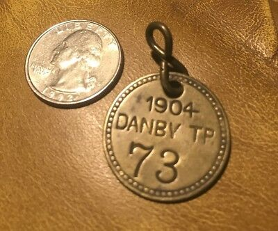 1904 Brass Dog License Tax Tag #73 - Danby Township Mi