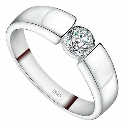 NEW Sterling Silver Cubic Zirconia CZ Silver Engagement / Wedding Band RING