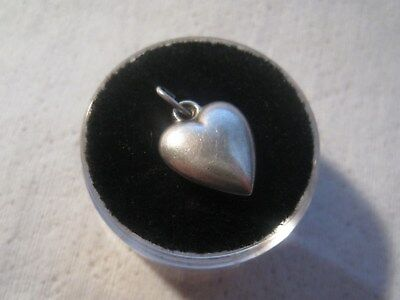 Vintage Sterling Silver Plain Non-Engraved Puffy Heart Charm
